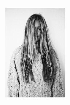 long hair. chunky sweaters.