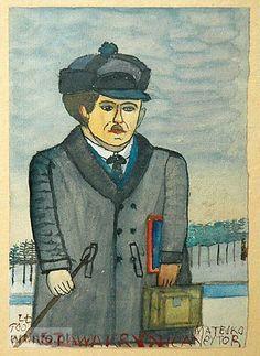 Krynicki Nikifor (Poland, 1895 - 1968) «Portret man czyzny»