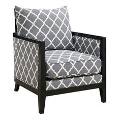 The Stratford Accent Chair comes in gray fabric with a white quatrefoil pattern for an elegant look. Features thick foam cushioning for plush comfort. Accented by dark espresso brown wooden edges and Wood Arm Chair, Chair And Ottoman, Armchair, Apartment Color Schemes, Quatrefoil Pattern, Grey Fabric, Living Room Chairs, Cool Furniture, Mattress