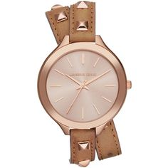 Michael Kors Mid-Size Rose Golden Pyramid-Stud Leather Runway Watch (565 BRL) ❤ liked on Polyvore featuring jewelry, watches, brown, golden watches, water resistant watches, pyramid jewelry, golden jewelry and rose jewellery