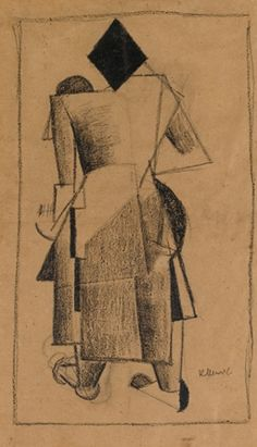 Kazimir Malevich, Standing Cubist Figure Seen from Behind, 1913