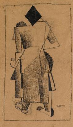 Kazimir Malevich, Standing Cubist Figure Seen from Behind, 1913