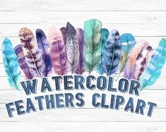 #watercolor #feathers #clipart #handpainted #watercolorfeathers #digitalclipart #instantdownload Printable Art by SouthPacific on Etsy
