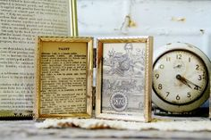 Repurposed Antique Pages in Vintage Gold Frames