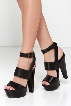 Steve Madden Dezzzy Black Leather Platform High Heels at Lulus.com!