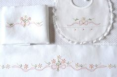Browse unique items from Lavandaelilla on Etsy, a global marketplace of handmade, vintage and creative goods. Baby Embroidery, Hand Embroidery Patterns, Embroidery Applique, Embroidery Stitches, Machine Embroidery, Embroidery Designs, Baby Sheets, Baby Bedding Sets, Cot Bedding