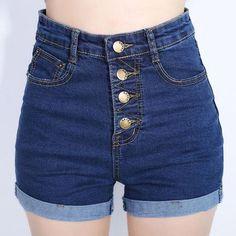 YuooMuoo 2016 Fashion 4 Buttons Retro Elastic High Waist Shorts Feminino Denim Shorts for Women Loose Plus Size Blue Jeans Short