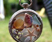Sea Glass Pocket Watch Pendant Antique French Silver 1890s Lost Treasure. $150.00, via Etsy.