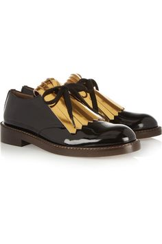 Heel measures approximately 30mm/ 1 inch Black patent-leather Gold leather fringe, almond toe Lace-up front