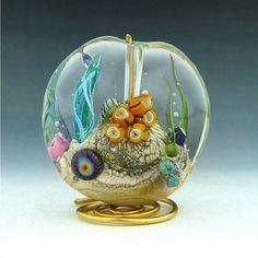 Handmade Art Glass Ocean bead by Mitosis Glass