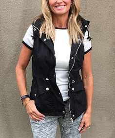 Loving this Black Hooded Vest on #zulily! #zulilyfinds