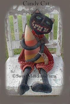 E-PATTERN Primitive Cat Doll with Giant Candy by SweetMeadowsFarm