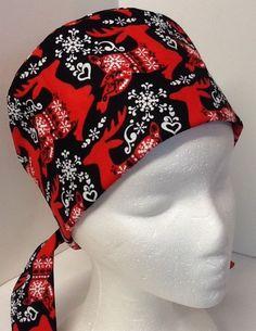 Christmas Snowflake Reindeer Pixie OR Scrub Cap Surgical Surgeon's Surgery Hat #Handmade