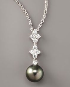 Mikimoto Black Pearl Pendant Necklace in White Gold Cultured Pearl Necklace, Pearl Pendant Necklace, Cultured Pearls, Pearl Jewelry, Pearl Necklaces, Diamond Pendant, 4 Diamonds, Pearl And Lace, Mikimoto Pearls