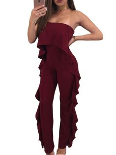 Cheap strapless jumpsuit for women, Buy Quality strapless jumpsuit directly from China overall jumpsuit Suppliers: Uown 2017 Sexy Ruffles Strapless Jumpsuits for Women Romper Long Pants Flounced Straight Elegant Overalls Party Clubwear Female Ruffle Jumpsuit, Strapless Jumpsuit, Jumpsuit Style, Romper Pants, Rompers Women, Jumpsuits For Women, Chic Outfits, Fashion Outfits, Classy Outfits