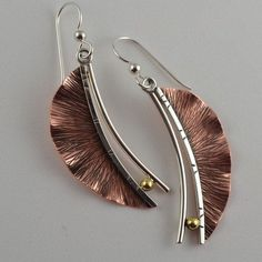 Copper Leaf Earrings - Metalwork Jewelry - Artisan Metalsmith