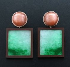 Jade, Moonstone Cabochon, Brown Ceramic, 18K Rose Gold Ear Pendants by James de Givenchy