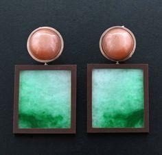 Jade, Moonstone Cabochon, Brown Ceramic, 18K Rose Gold Ear Pendants by James de Givenchy