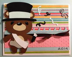 Handmade happy new year card - cricut teddy bear parade