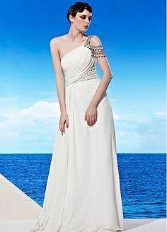one shoulder white dress by DressilyMe