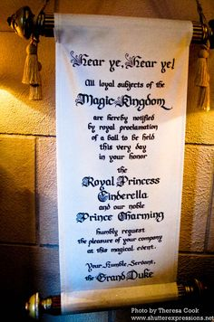 Royal Ball invitation - this is a super cute idea for the entry way or announcement in the hall