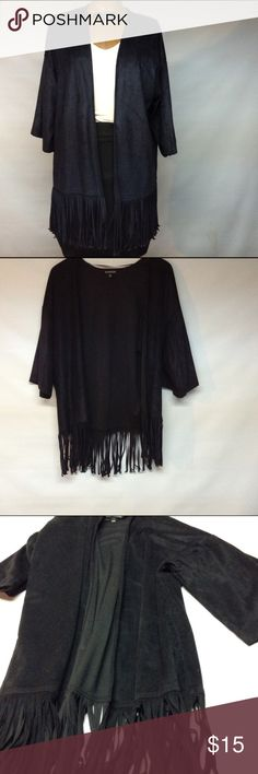 Faux Black cover up jacket Faux suede black with fringe. Three quarter sleeves.  Very light weight. It one size fits all. Close to a medium.  Excellent condition. Express Jackets & Coats