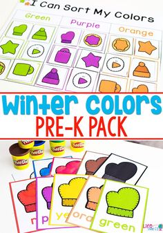 Your children will love the engaging activities in this Winter Colors Pre-K pack! Not only will they work on color recognition, but they will also build fine motor skills, beginning writing skills, sorting and classification skills and many other pre-k/preschool skills.  #prek #wintertheme #learningcolors via @lifeovercs