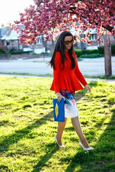 The Style Addition: Color Peplum + Printed Skirt
