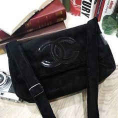 1a10b0a952bf CHANEL Precision CC Black Logo Velour Teddy Plush Bag VIP Gift Shoulder  Pouch Large