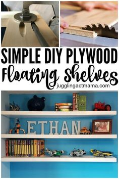 DIY Floating Wood Shelves are easier to build than you might think. I love how simple shelves can become a statement piece in any room! We'll show you How to Make Your Own Floating Shelves in our step-by-step tutorial. Easy Woodworking Projects, Diy Wood Projects, Woodworking Plans, House Projects, Wood Crafts, Diy Crafts, Diy Simple, Easy Diy, Custom Bunk Beds