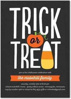 Customize a unique Halloween party invitation that your guests will love. The pumpkin and candy corn art on this black invitation are perfectly spooky.