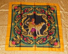 Genuine vintage Salvatore Ferragamo neckerchief / 100% silk