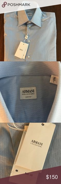Armani Collezioni Mens Shirt Giorgio Armani S.P.A. is an Italian fashion house founded by Giorgio Armani which designs some of the most sort after haute couture products in the luxury world.The brand utilizes the association of the Armani name with high-fashion, benefiting from its prestige in the fashion industry. Armani shirts are legendary and be prepared to be noticed.  New with tags, originally $360  Made in Italy  Size 15 1/2 X 39, L Giorgio Armani Shirts Dress Shirts