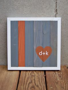MADE TO ORDER Reclaimed Wood Custom Heart with Initials Painting. $65.00, via Etsy.