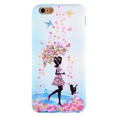 Coque Effet Tissu pour iPhone 6 Plus / 6s Plus Parapluie Fleuri