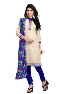 Stylish Off-White & Blue Embroidered Dress Material