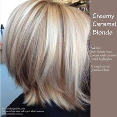 Creamy Caramel Blonde. Long Layered Graduated Bob