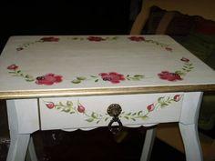 Mesa em pátina provençal com pintura bauernmalerei (country Alemão )