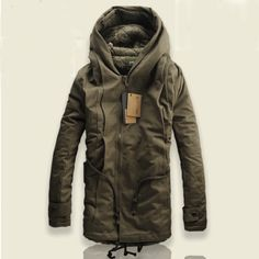 Details about Men's Military Hooded Fur Collar Winter Warm Long ...