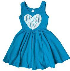 Littlebowandarrow Girls Electric Blue Love Fool Swing Dress