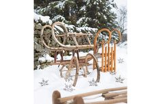 Shop vintage on RE-foundobjects. Old traditional wooden sledges from Europe. Various designs some toboggans featuring lerge curly runners - just add snow! Wooden Sledge, Vintage Sled, Deck The Halls, Countryside, Objects, Ceiling Lights, Christmas, Image, Home Decor