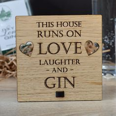 This House Runs on Love Laughter and Gin – Personalised Oak Wooden Sign - Pretty Personalised