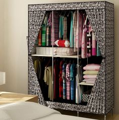 New Reinforced Large Portable Closet Folding Clothes Wardrobe Bedroom Furniture #Handmade #Modern