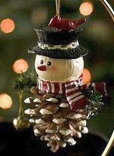 Pinecone Snowman Christmas Ornament                                                                                                                                                                                 More