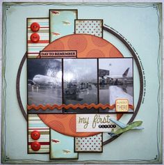 3 photos scrapbook layout -  the journaling around the edge of the circle is a nice touch!