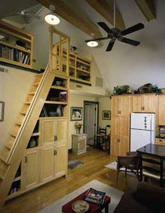 Loft with cubbies on the stairs [Artists Studio]