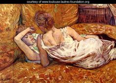 Henri de Toulouse-Lautrec - 1885 - Devotion: the Two Girlfriends. Toulouse-Lautrec loved painting women, and he was not afraid of a little controversy. Henri De Toulouse Lautrec, Art Lesbien, Art Conceptual, Friend Canvas, Lesbian Art, Renoir, French Art, Monet, Painting & Drawing