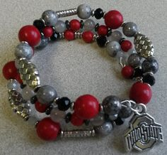 Your place to buy and sell all things handmade Embroidery Bracelets, Beaded Bracelets, Bangles, Football Bracelet, Memory Wire Bracelets, Ohio State Buckeyes, Adjustable Bracelet, Beaded Flowers, Silver Charms