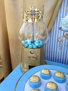 Royal baptism party decorations! See more party planning ideas at CatchMyParty.com!