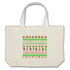 Green Yellow Flowers Hearts Zigzag Pattern Canvas Bag